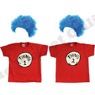 CHILDRENS THING 1 2 CAT IN THE HAT T SHIRT & BLUE WIG FANCY DRESS BOOK WEEK