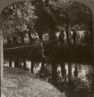 Machine-gun section of Dragoon Guards crossing a stream - WW1 Stereoview #087