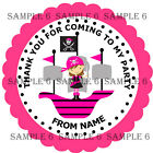 Personalised Pirate Girl Thank You Stickers for Party Bags/Sweet Cones GL02-06