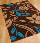 "Carved Floral Rug in Browns, Beige and Blue in size 160x230cm (5'3""x7'7"")"
