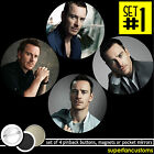 Michael Fassbender SET OF 4 BUTTONS or MAGNETS or MIRRORS pinback badges #1161