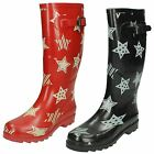 Womens Spot On Star Print Wellington Boots / Rubber / Slip On