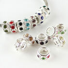 Wholesale Rhinestones Crystal Silver Spacer Charms Beads Fit European Bracelet
