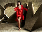 Free shipping  Red/Purple silk Blend Women Lace Sleepwear Robe & Gown Set M-2XL