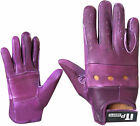 Leather Riding Gloves Sof Driving Wheel Chair Gloves Purple Ladies S-M & L-XL