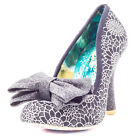 Irregular Choice Mal E Bow Womens Fabric Black Silver Heels