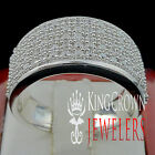 Mens Real 925 Silver Lab Diamond White Gold Finish Wedding Engagement Ring Band