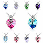 New Fashion Women Heart Pendant Silver Plated Crystal Long Chain Necklace