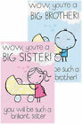 New Baby Birth Card Big Brother Big Sister Pink Blue Congratulations Boy Girl