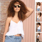 Summer Women White Tank Tops Vest Blouse Casual Sleeveless Camisole Crop T-Shirt