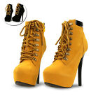 Women's Lace Up 5.7inch High Heel Ankle Boot Booties Fashion Platform Shoes