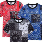 Men Hip Hop Casual Bandana 3D Print Jersey T-Shirt Tee shirt Top short sleeve