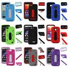 For Blu Phones PREMIUM Hybrid Armor Heavy Duty Dual Layer Case Cover Kickstand