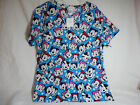 Licensed Disney Mickey&MinnieMouse Scrub Top Vee Neck 3Pockets 100%Cotton  NWT