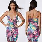 Womens Sexy V Neck BacklessSummer Beach Bodycon Sundress Floral Mini Culb Dress