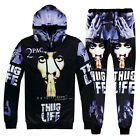 Men Women 3D Hip-Hop THUG LIFE Print Sweatshirt Hoodies Jogger Pants tracksuit