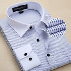 TSC6309 New Mens Striped Formal Slim Casual Long Sleeve Business Dress Shirts