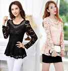 Hipster Women's Casual Lace Blouse Ladies Long Sleeve Shirt Tops Sumptuous Sweet