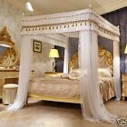 Luxury canopy for bed drapes mosquito net with 4 corner frames queen king white image
