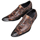 US Size 5-12 Metal Toe Leather Mens Formal Dress Loafer Shoes & Free Cufflink