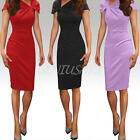 Sexy Women's Pleated Neck Short Sleeve Slim Bodycon Party Club Pencil Dresses