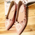 Womens Ballet Flat Pointy Toe Rivets Low Heel Gladiator Casual Pumps Shoes Pink