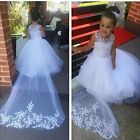 Lace Tulle Flower Girl Dress Wedding Easter Junior Long Train Bridesmaid Baby