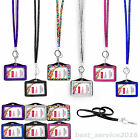 PORTABLE BLING RHINESTONE DIAMANTE CRYSTAL LANYARD ID BADGE HOLDER PHOTO ID CARD