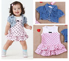 Kids Baby Girls Kids Infant T-shirt Tops +Polka Dot Sleeveless Dress Set Outfits