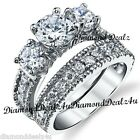 925 Sterling Silver 3 stone Round Diamond cut Engagement Ring Wedding Set 4-11
