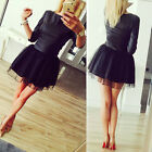 Fashion Sexy Women Long Sleeve Bodycon Cocktail Evening Party Short Mini Dress