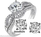 Diamond cut Sterling Silver White Gold Engagement Ring Wedding Bridal Band Set