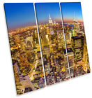 New York City Skyline Downtown TREBLE CANVAS WALL ART Square Picture Print