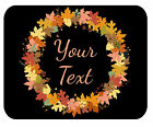 CUSTOM GLASS CUTTING BOARD PERSONALIZED-2 SIZES-FALL LEAVES WREATH-ADD ANY TEXT