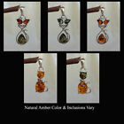 BALTIC GREEN HONEY MULTICOLOR AMBER STERLING SILVER CAT & WHISKERS PENDANT CHARM