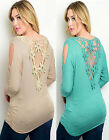 NWT LACE BACK 3/4 Sleeve JADE/MOCHA Draping Cold Shoulder PLUS SIZE Top 1X-2X-3X