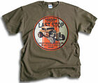Last Stop V8 Hot Rod Roadster Motor Body Repairs Mens Olive T Shirt Sm - 2XL