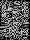 PAINTING DRAWING BLACK WHITE OWL SHAKY LINES ART PRINT POSTER MP3709B