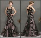 2016 New Long Black Formal Prom Dresses Applique Mermaid Lace Evening Party Gown