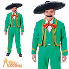 Adult Mexican Man Costume Green Mens Mariachi Singer Fancy Dress Outfit New