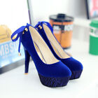 New Womens sexy faux suede stiletto high heel platform ribbon lace pumps shoes
