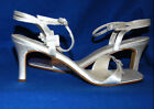 d'ORSAY WHITE SATIN ANKLE STRAP SANDALS WITH RHINESTONE BUCKLES DYABLE