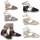 WOMENS SUMMER LADIES LOW FLAT HEEL ANKLE LACE UP ESPADRILLES SHOES SANDALS SIZE