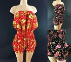 Plus Size Girly Fitted Tiered Floral Print Cinched Waist Shorts Romper 1X 2X 3X