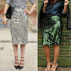 New Sexy Women High Waist  Slim Sheer Sequins Knee-Length Holiday Party Skirt