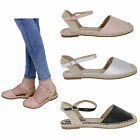 WOMENS LADIES LOW FLAT HEEL ANKLE STRAP WOVEN NEW ESPADRILLES SHOES SANDALS SIZE