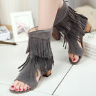 Womens fashion chunky mid heel faux suede tassel peep toe sandals boots shoes