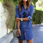 Fashion Blue Denim Women Ladies Long Blouse Long Sleeve Loose Casual Shirt Tops