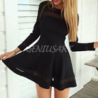Women Ladies Long-Sleeve Sexy Clubwear Chiffon Black Cocktail Mini Pleated Dress