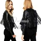 New arrival Personality PU leather Fringed Leather Jacket Tassel Embellish Coat